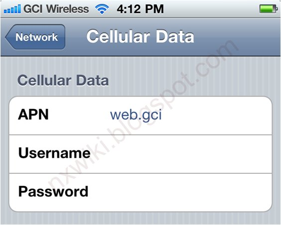 GCI Wireless APN Settings for Android iPhone