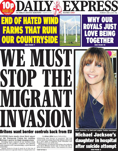 The front cover of the Daily Express in June 2013 with the main headline stating 'WE MUST STOP THE MIGRANT INVASION'