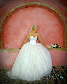 Bride in a wedding dress against a pink background