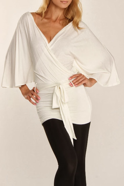 White Wrap Tunic With Black Leging