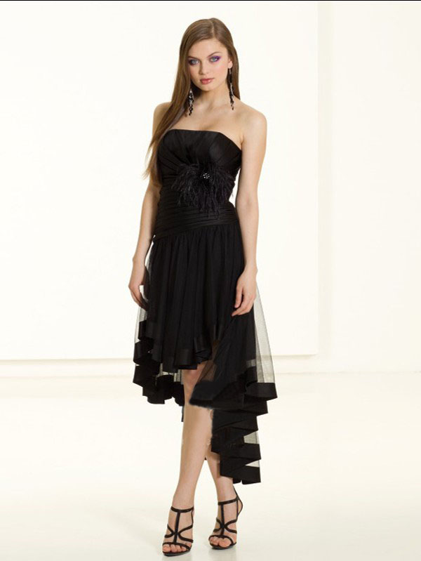 summer black high low dress