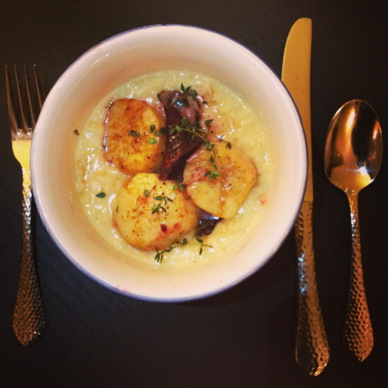 Champagne risotto with pan-seared scallops | hardparade.blogspot.com