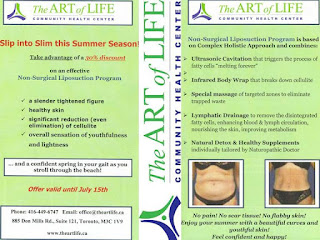 Non-surgical Liposuction Program Offer the Art of Life Community Health Centre, flyer