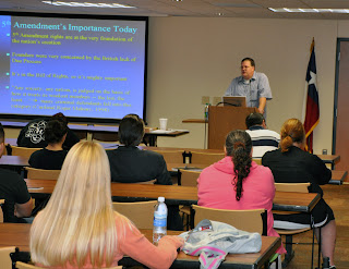 Dr. Michael S. Vaughn discusses the case of Connick v. Thompson during Constitution Day at SHSU.