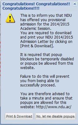 NDU 2014/2015 Admission