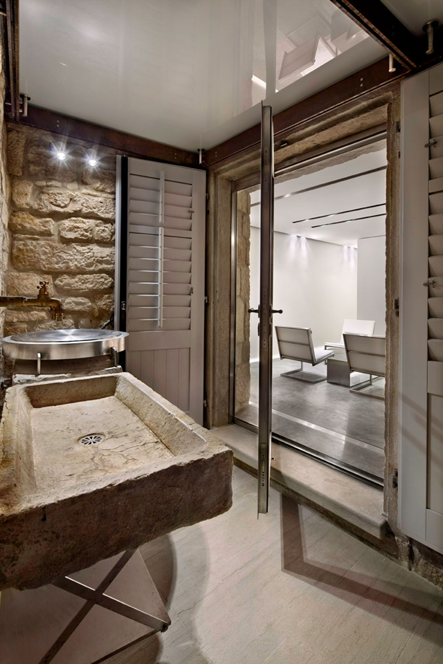 Bathroom with stone sink