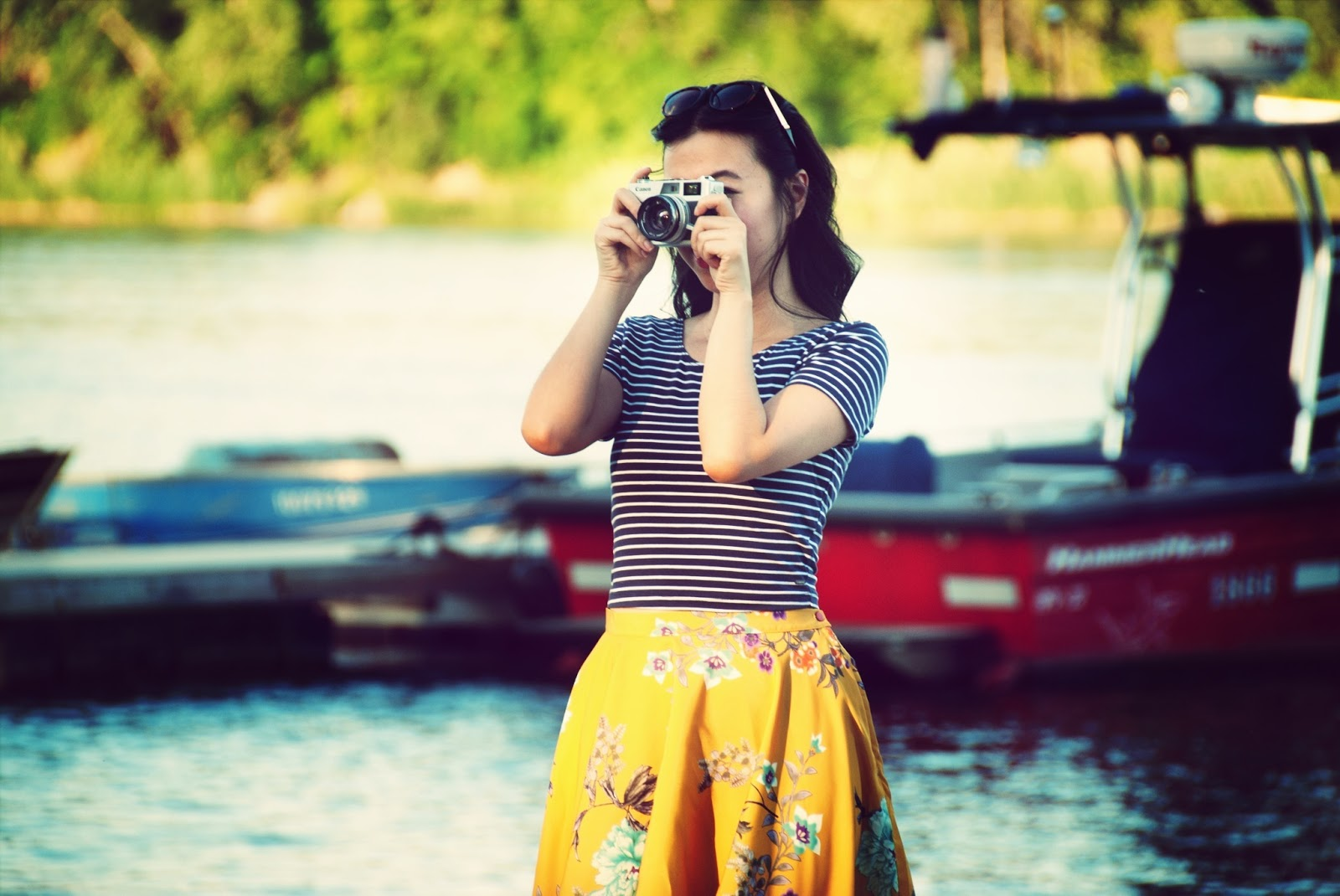 nautical fashion boats camera yellow floral skirt striped crop top girl