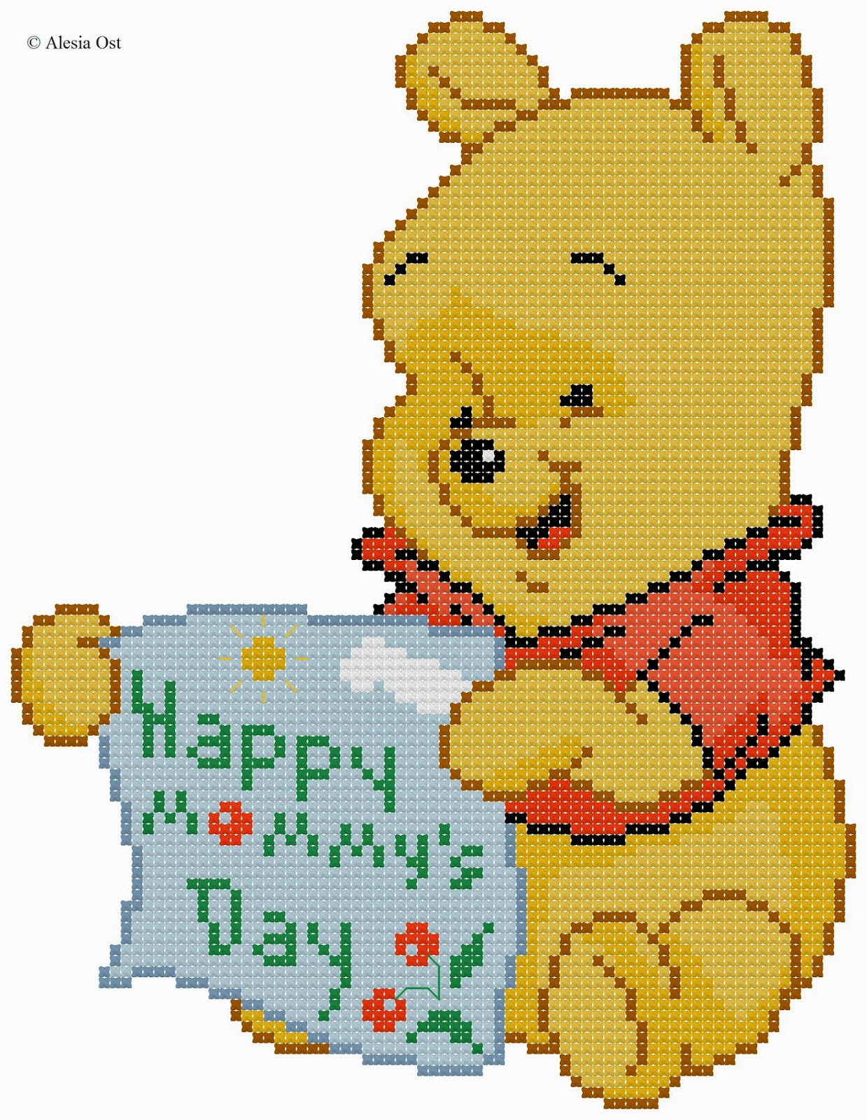 Free cross-stitch patterns, Winnie the Pooh, Disney, cartoon, bear, animal, Mother's Day, holiday, cross-stitch, back stitch, cross-stitch scheme, free pattern, x-stitchmagic.blogspot.it, вышивка крестиком, бесплатная схема, punto croce, schemi punto croce gratis, DMC, blocks, symbols
