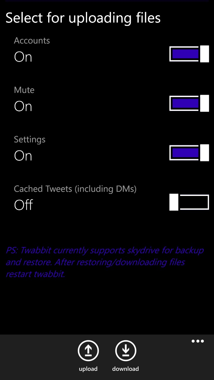 Windows phone got an update that supports backing up to and restoring
