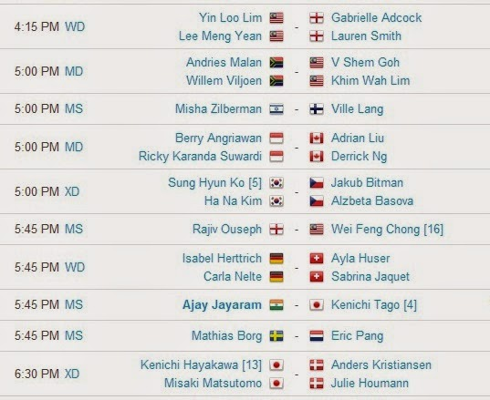 Jadwal Pertandingan BWF World Championships 2014 Hari Kedua 4