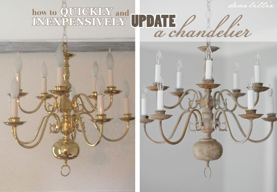 Dear Lillie: Making Over a Chandelier with Chalk Paint:Tonight I wanted to show you a quick makeover we did on an outdated  chandelier. We actually have ordered our new chandelier for ...,Lighting