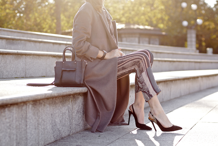 outfit detail rebecca minkoff mab tote, long coffee coat with belt, black pumps