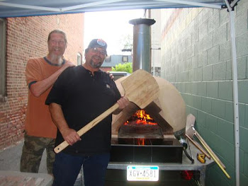 HomeBrewers Ball and Steve and Bob making pizzas in Bob&#39;s wood-fired oven