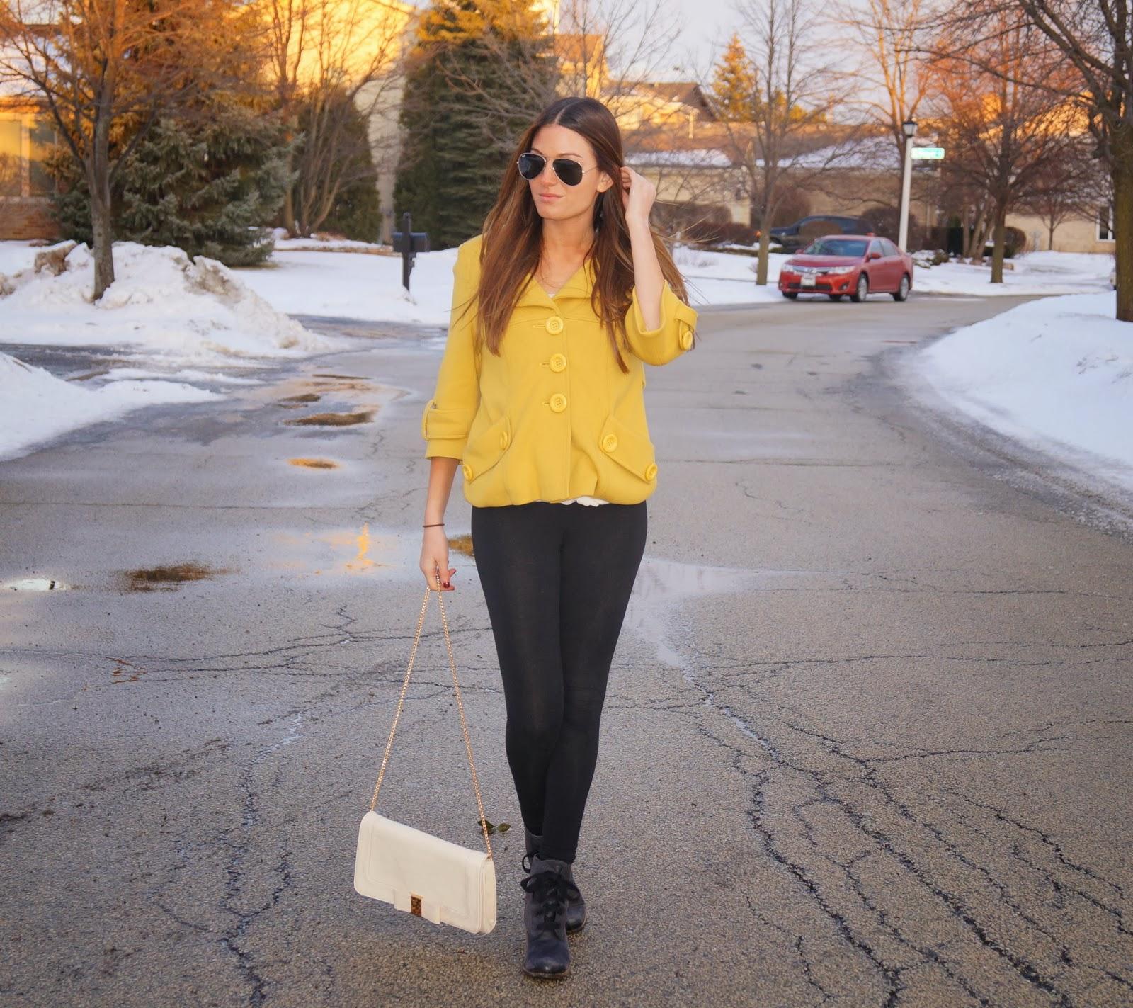 mustard yellow jacket, dolce vita boots