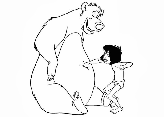 baloo and mowgli coloring pages