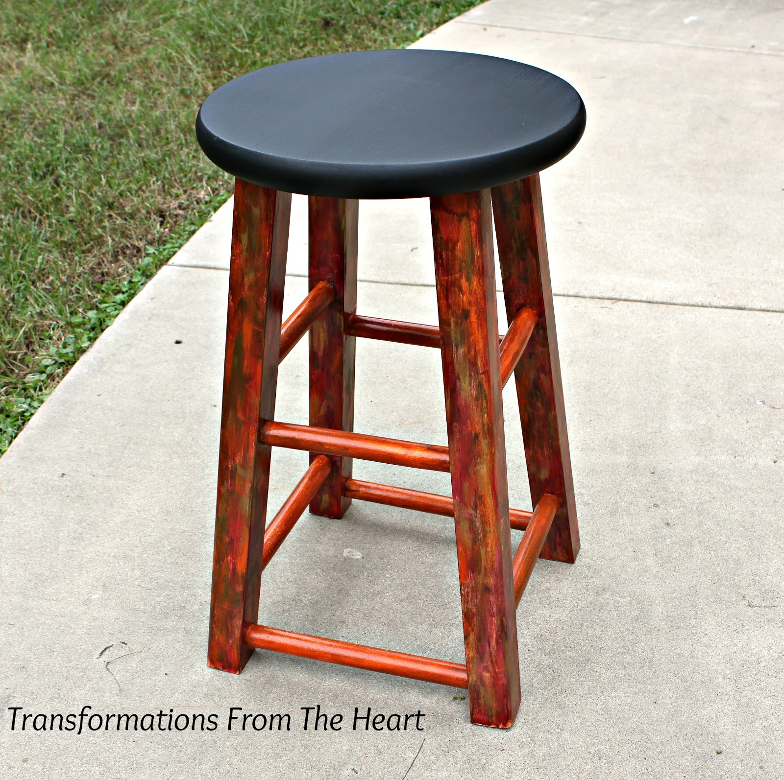 Transformations From The Heart: DIY Industrial~look Painted Wood Stool. Full resolution‎  picture, nominally Width 1600 Height 1593 pixels, picture with #B63A15.