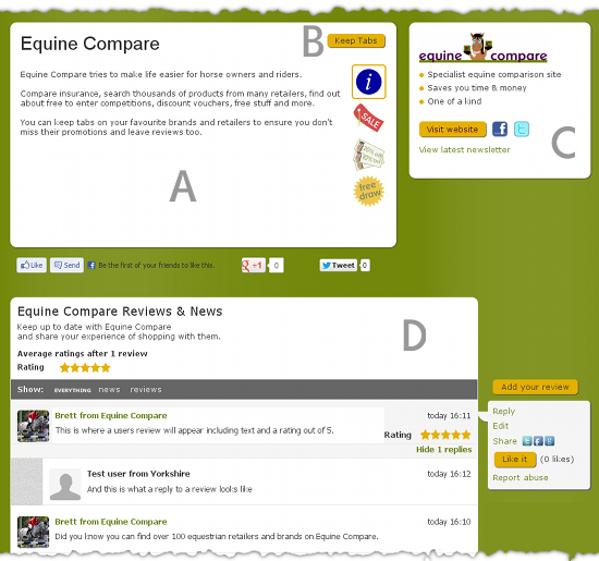 Equine Compare - sample review page
