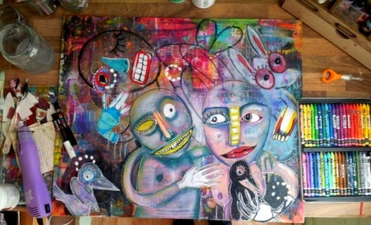 Carmen Wing - The Watcher in progress - Mixed media on canvas board