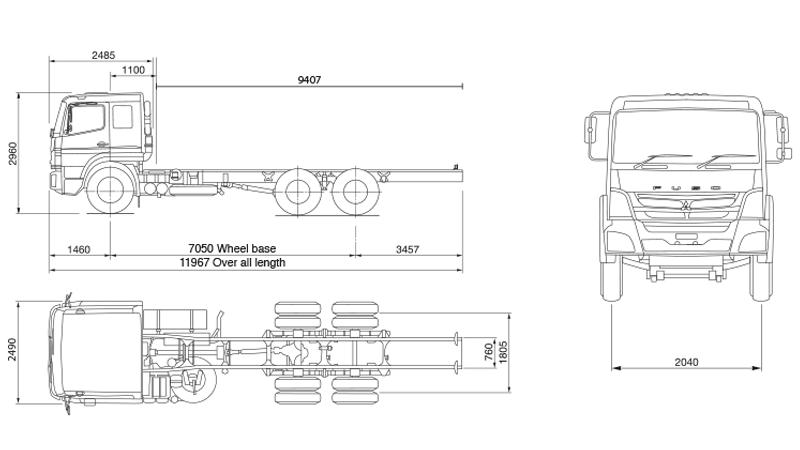 Dimensi Mitsubishi Fuso FJ 2523 6X2 230 PS Jambi
