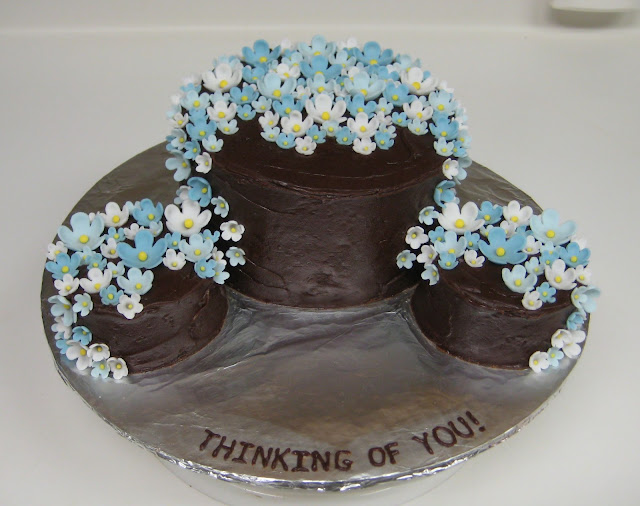 Thinking of You Cake with Blue Flowers 1