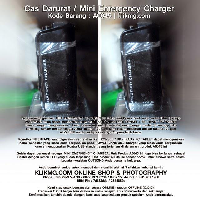 Cas Darurat / Mini Emergency Charger - Kode Barang : A0045    Cukup dengan 2 Baterai AA HP/ BB / IPAD/ Gadget/ PC Tablet Anda bisa hidup lagi.