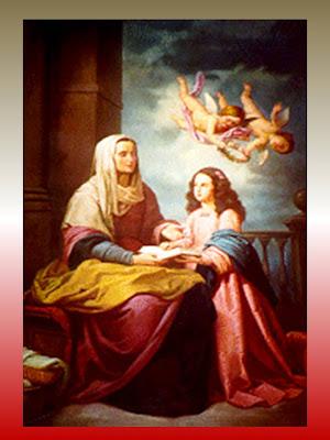 Imagen de Santa Ana sentada sosteniendo en su regazo un libro. A su lado la Virgen Niña leyendo el libro.