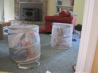 Children in laundry baskets
