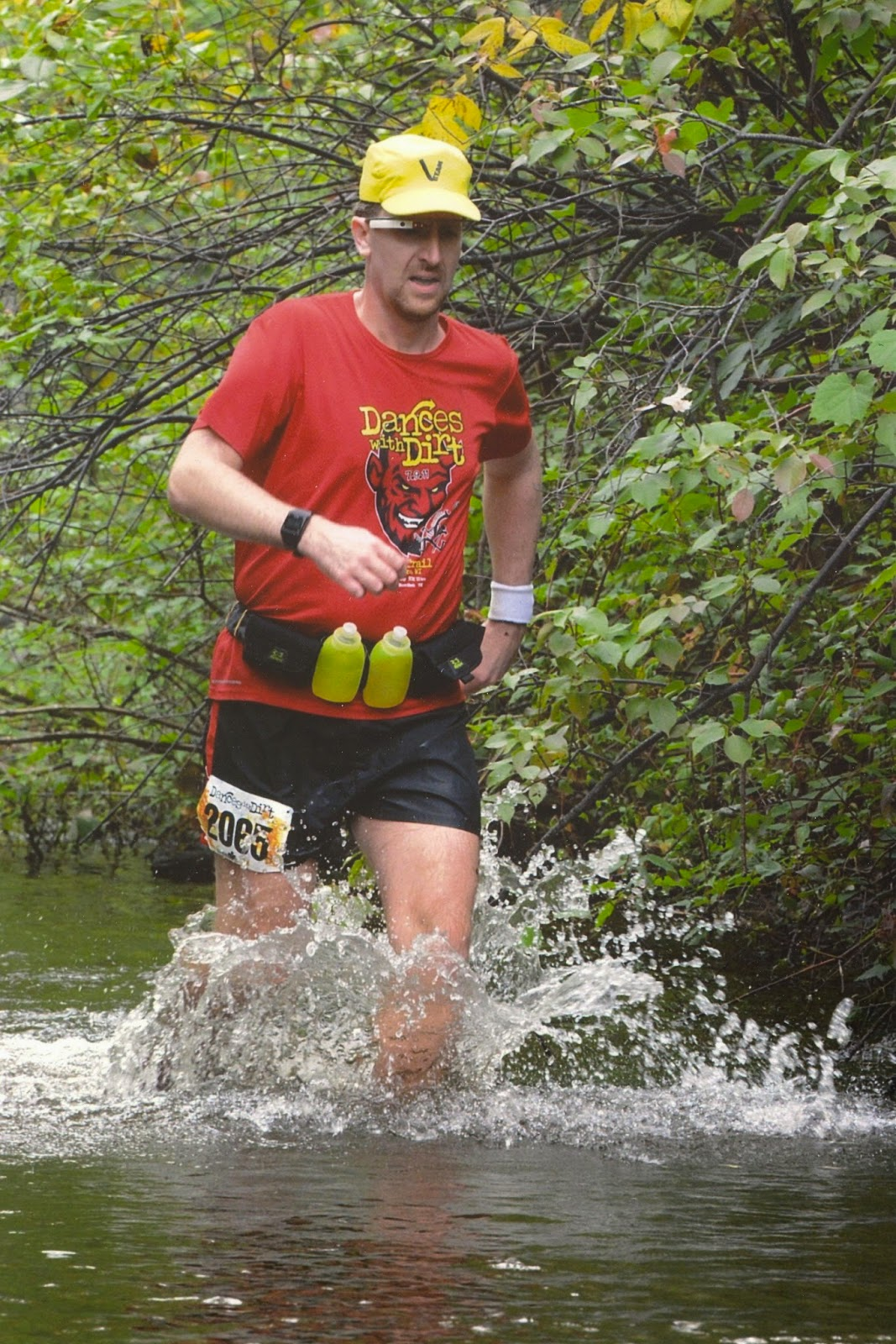 Running in a river at mile 22