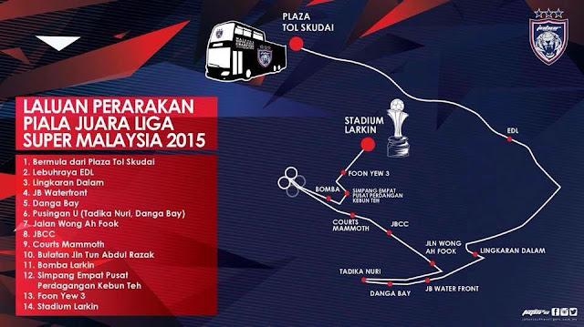 Laluan Perarakan Piala Juara Liga Super Malaysia JDT