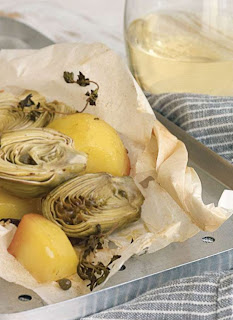 Artichokes En Papillote With Potatoes, Olives and Capers