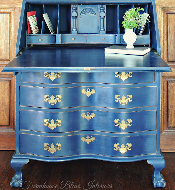 Farmhouse Blues Interiors-Blue-Vintage Desk Makeover-Treasure Hunt Thursday-From My Front Porch To Yours