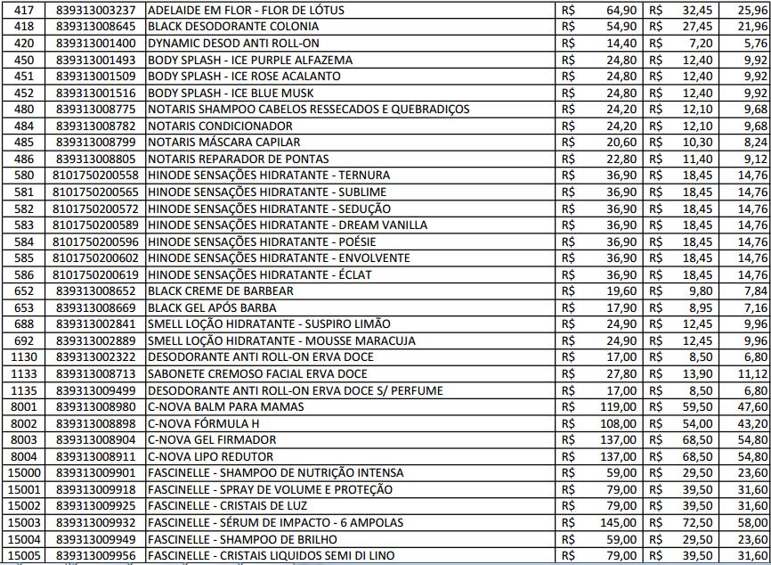 Famosos Produtos Hinode Cosméticos: Tabela de preço hinode UM19
