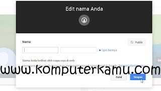 Edit Nama Baru di Profil Google Plus