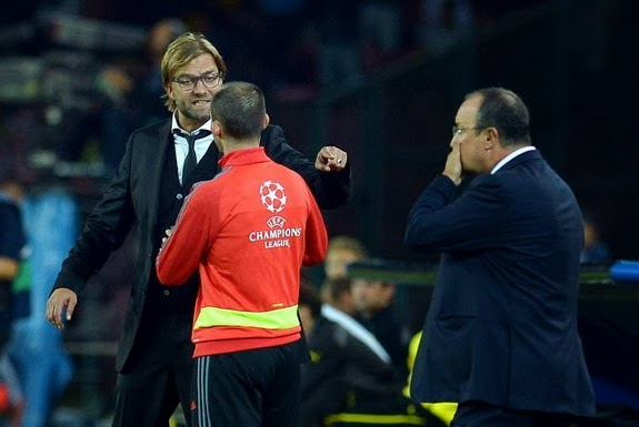 Dortmund coach Jürgen Klopp is sent off against Napoli after angrily arguing with the fourth official