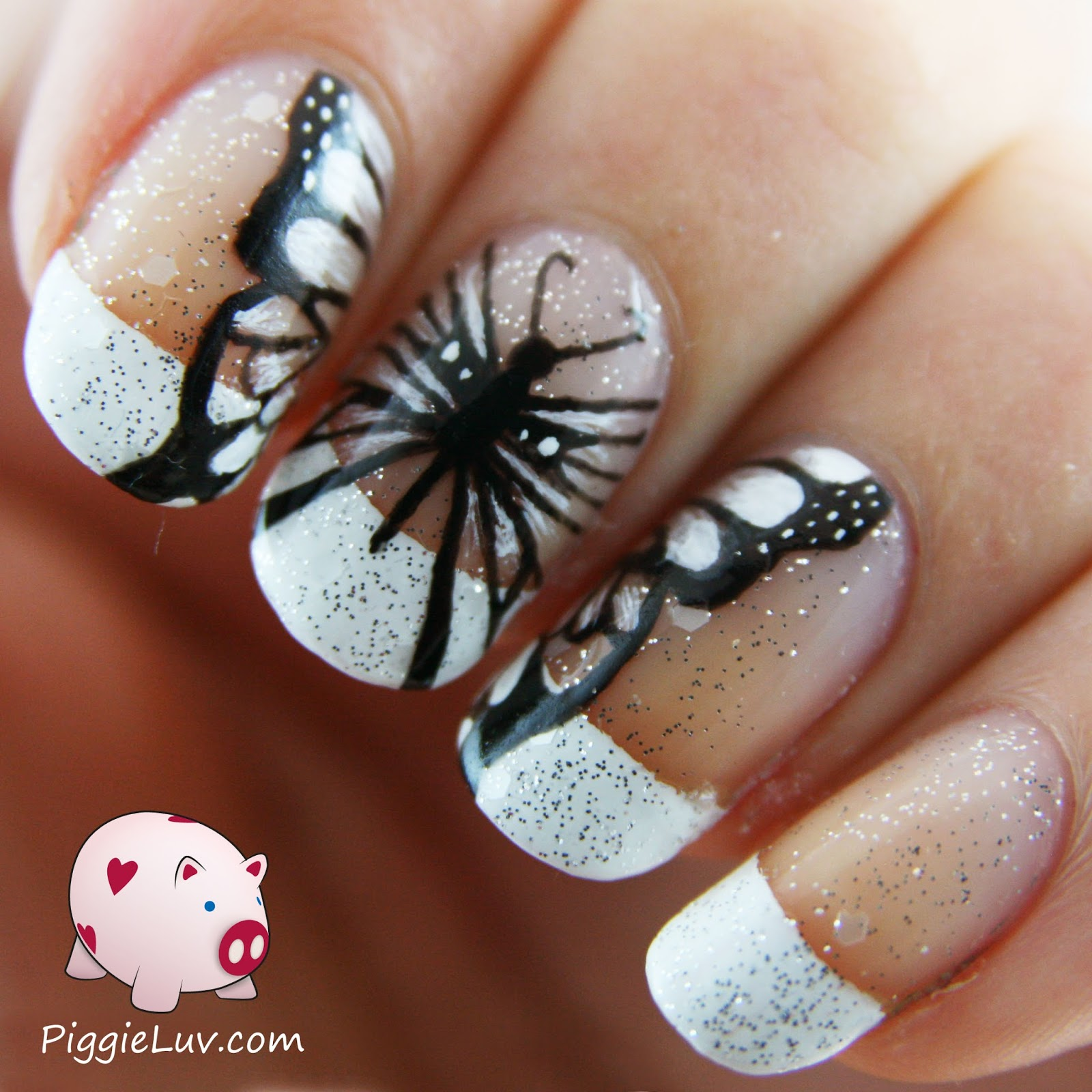 PiggieLuv: Hand painted black & white butterfly