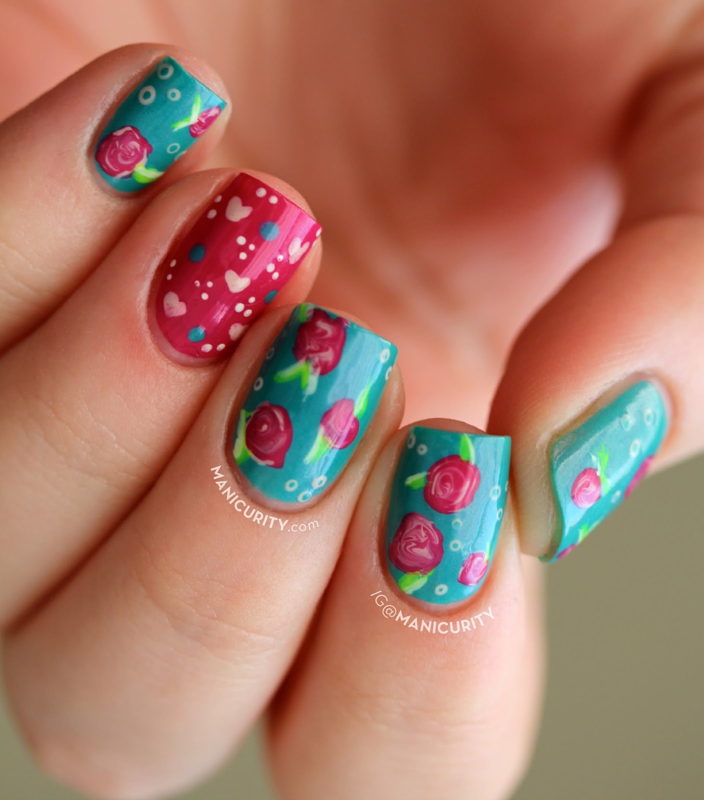 The Digit-al Dozen does Vintage: Contemporary Vibrant Rosebud Skittles - fun nail art idea for short, nubbin nails! | Manicurity.com