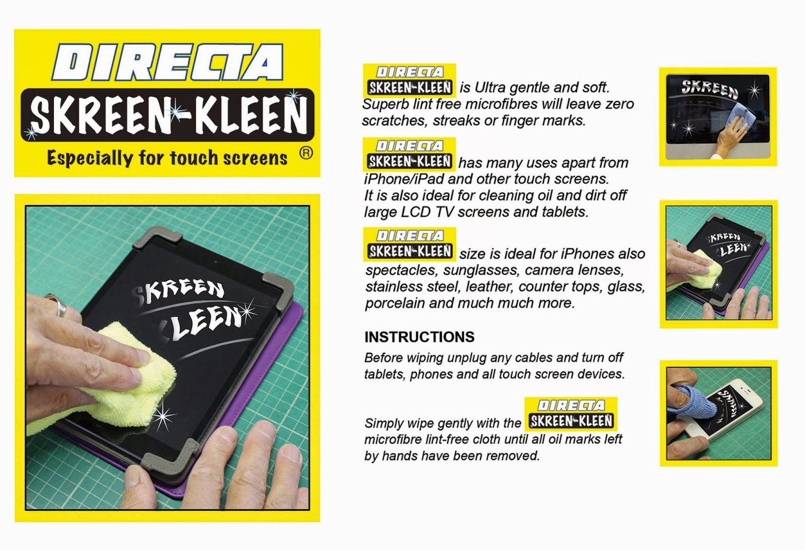 Gaffa Skreen Kleen cloths are gentle and soft, lint free and will leave no scratches, streaks or finger marks which make them an ideal cloth for cleaning your screens. Perfect for cleaning up computer screens, ipads, mobile phone screens, sunglasses and much much more.