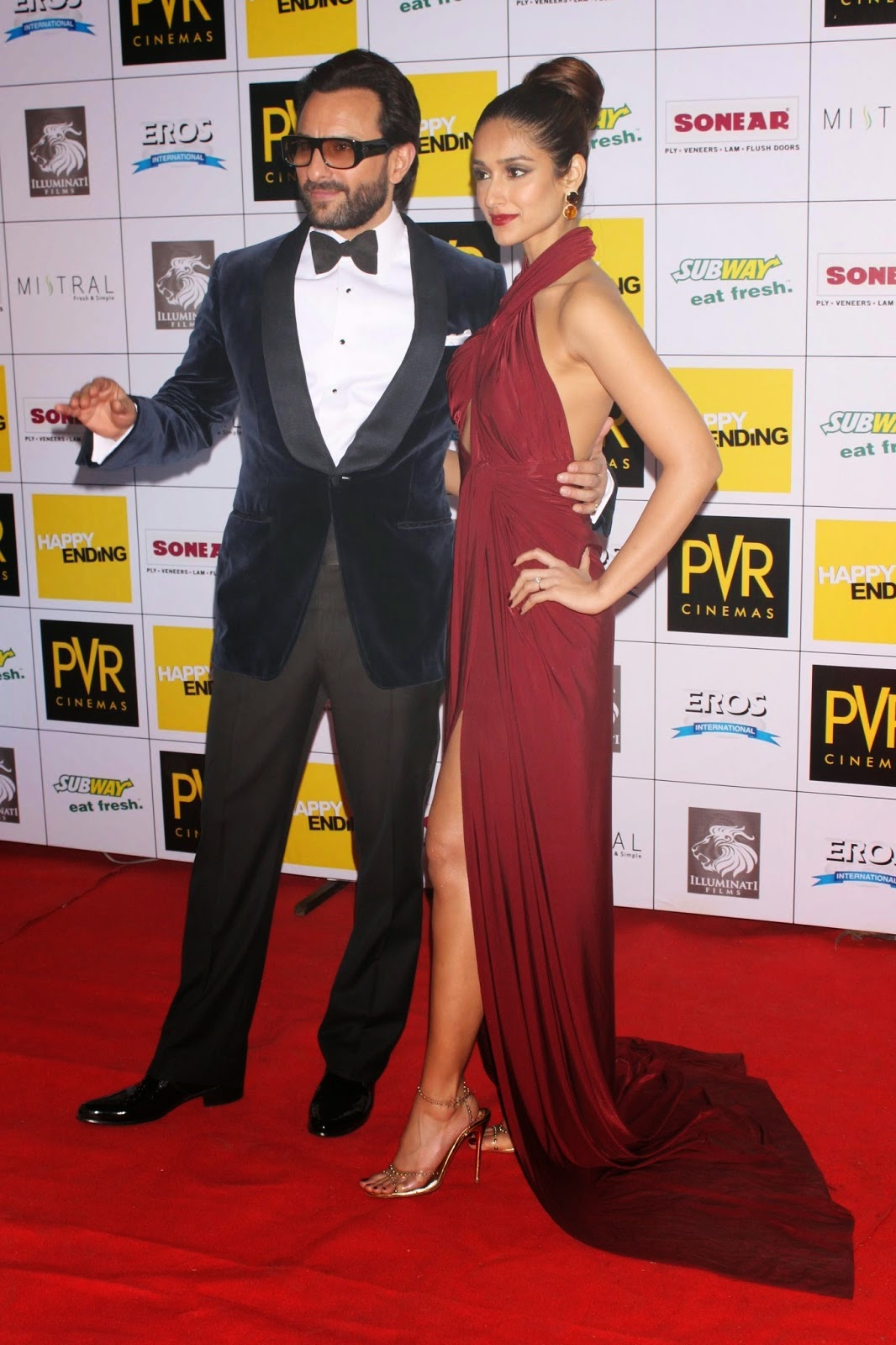 Ileana D'Cruz along with Saif Ali Khan at the Premiere of Film 'Happy Ending'