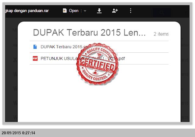 DUPAK GURU TERBARU 2015 LENGKAP DENGAN PANDUAN