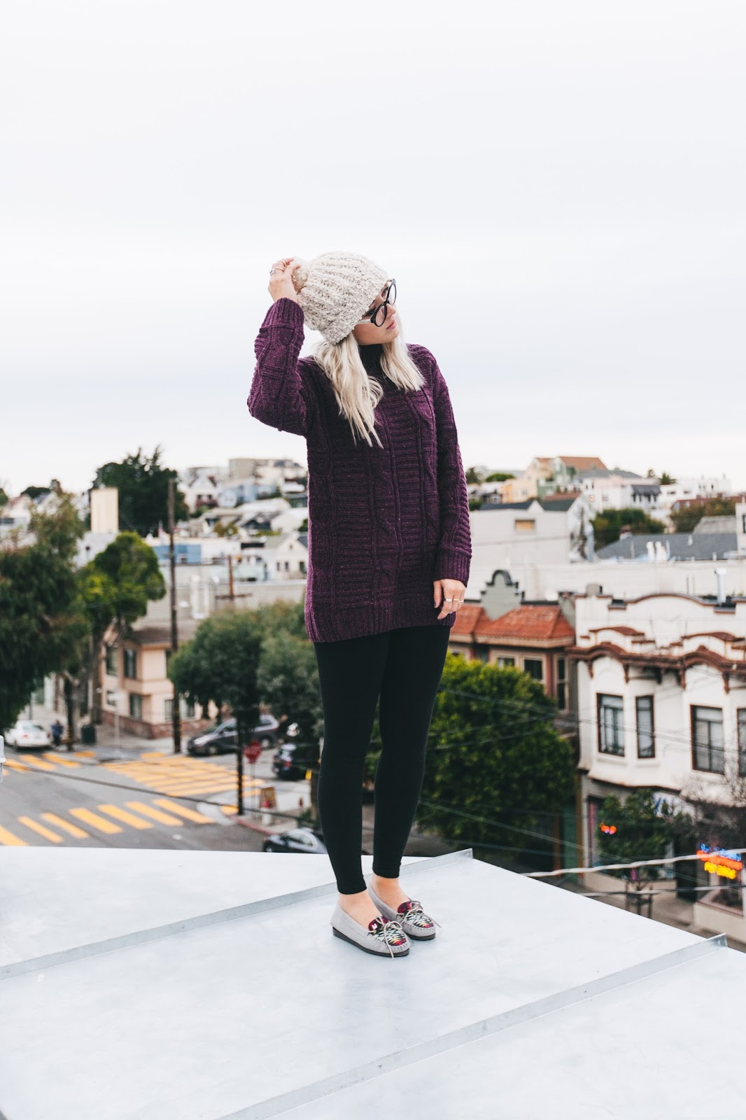 cozy outfits, reading nook, fashion blogger, sf style, san francisco fashion blogger, chunky sweater, garage clothing, le bunny bleu, crimson, cute moccasins, bryn newman, stone fox style