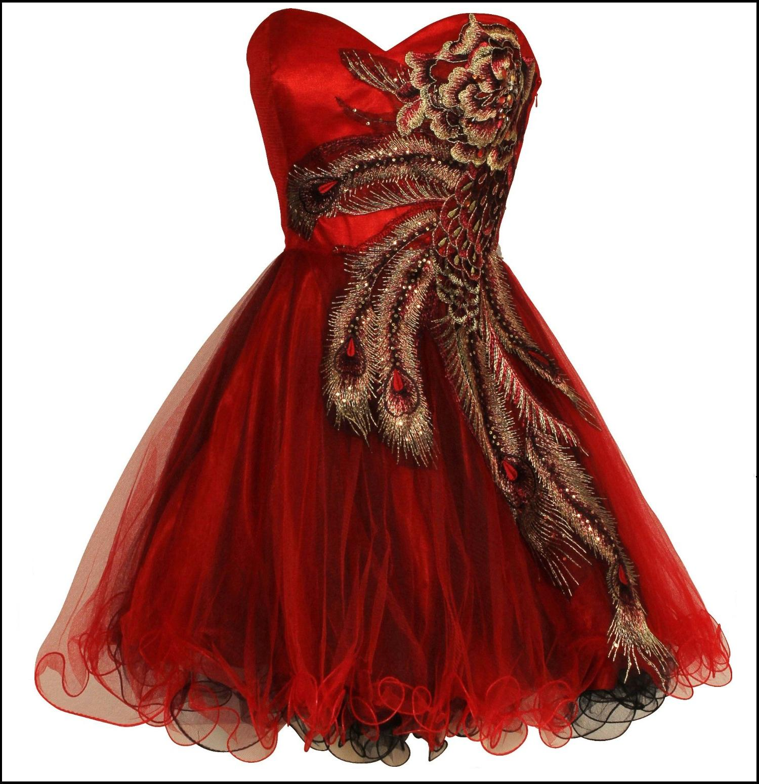 Embroidered holiday party prom dress in red for junior plus size jpg