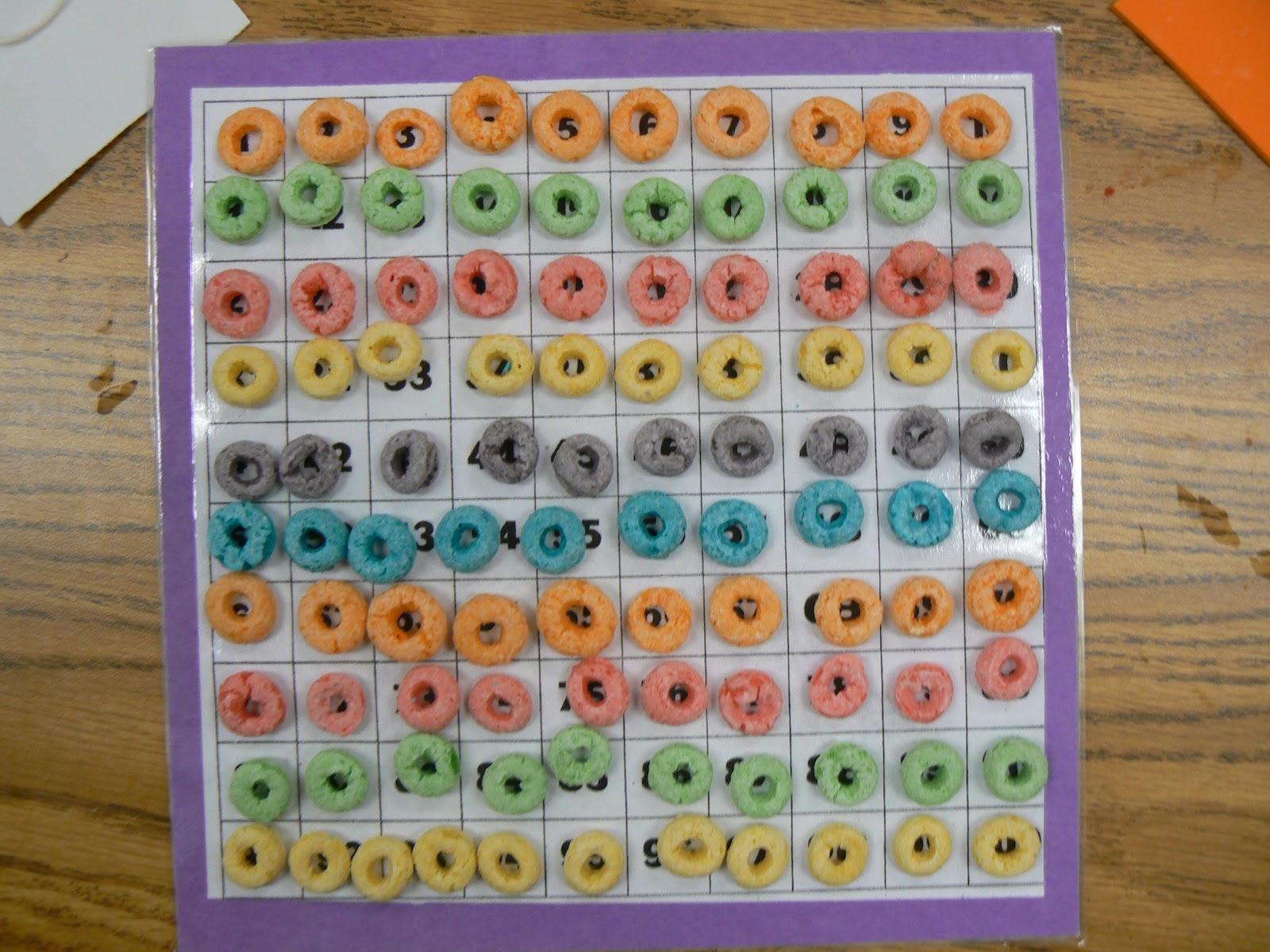 The Weekly Hive has a cute fruit loop math worksheet.