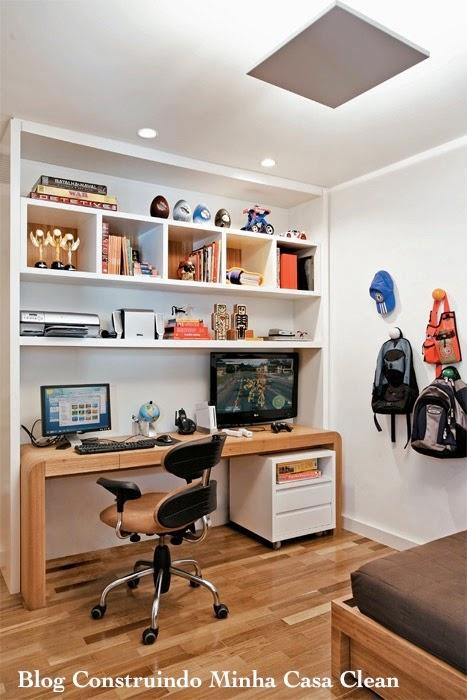 Construindo Minha Casa Clean 12 Quartos Fantásticos de  ~ Quarto Planejado Escrivaninha