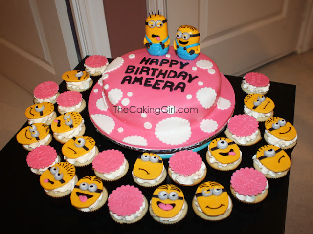 pretty despicable me cake and cupcakes
