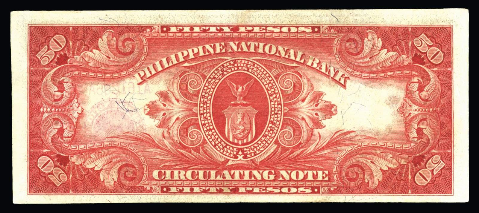 Philippines banknotes 50 pesos circulating note 1920 general henry w