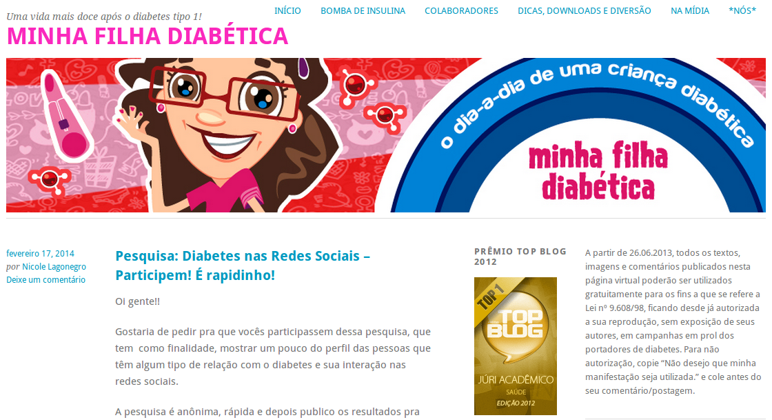 diabetes, tipo 1, nicole lagonegro, blog do mês
