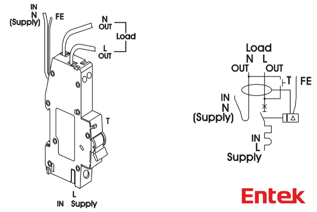 entek electric   rcbo wiring diagram