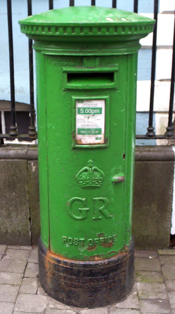 Formerly red, now a green Irish postbox