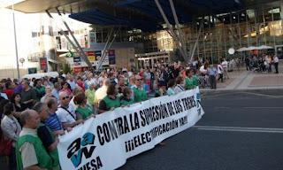 Manifestacion de FEVESA en la estacion de trenes de Salamanca