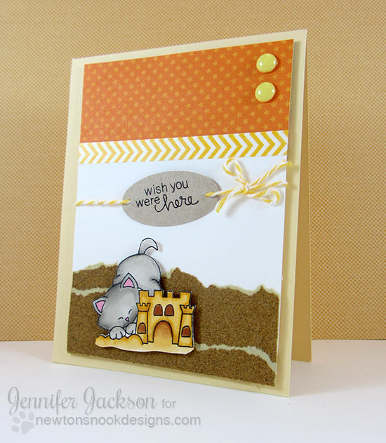Kitty and Sandcastle Beach Card by Jennifer Jackson for Newton's Nook Designs - Inky Paws Beach Challenge